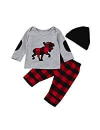 Perman 3PCS Newborn Baby Boys Girls Plaid Tops+Pants+Hat Outfits Set