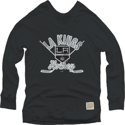 Black Nhl Pullover Sweatshirt (Original Retro Brand NHL Los Angeles Kings Women's Pullover Sweatshirt, Large, Black)