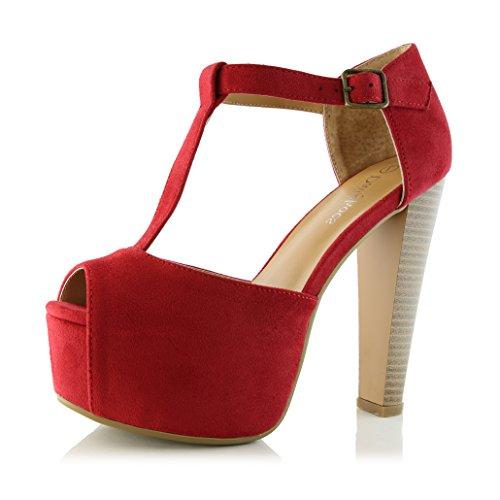 Dailyshoes Donna Peep Toe Piattaforma Sandalo Pompe Open Toe Fibbia Alla Caviglia T-strap Estremo Abito Da Sera Party Scarpe Casual Rosso Camoscio