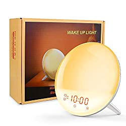 Wake Up Light Alarm Clock - 8 Colored Sunrise Simulation & Sleep Aid Feature LED Digital Alarm Clock with FM Radio, 7 Natural Sound and Snooze for Kids Adults for Bedrooms, Bedside, Desk, Shelf
