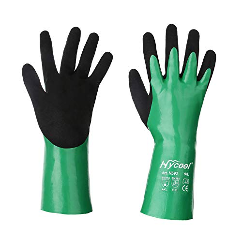 DS Safety N592 Nitrile Coating Work Gloves Chemical Resistant Nylon Latex Nitrile Gloves 18 Gauge Hycool Grip Water-Proof Work Gloves for Men's Work Gloves 1 Pair (XL) (Best Waterproof Work Gloves)