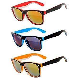 Retro Style 80's Vintage Two -Tone Sunglasses Full Mirror Lens 3 Pairs OWL.