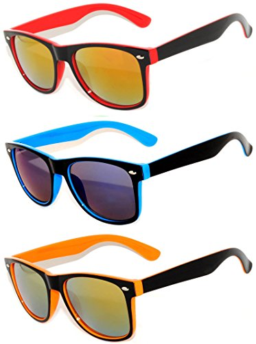 Retro Style 80's Vintage Two -Tone Sunglasses Full Mirror Lens 3 Pairs - Wayfarer Mirror Sunglasses