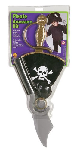 Pirate Accessory Kit with Hat, Earring, Eye Patch, Hook Hand and Sword (Captain Hook Toddler Costume)