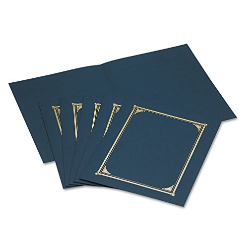 Geographics 45332 Certificate/Document Cover, 12 1/2 x 9 3/4, Navy Blue, 6/Pack