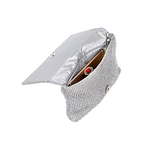 Evening Women's Shoulder Clutch Strap Bling with Bag Chain Black Rhinestones Detachable Handbag qqafxwnH46