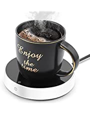 Suewow Coffee Mug Warmer and Office Warmer,Mug Warmer for Desk,Beverage Warmer, Electric Beverage Warmer with 3 Temperature Settings, Coffee Warmer for Tea,Water,Cocoa,Milk or Soup, (Up to 165℉/75℃) (White)