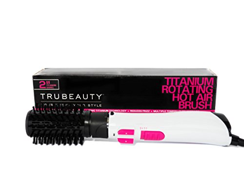Rotating Hot Air Brush Hair Dryer, Hair Brush Dryer and Styler, Titanium, Multidirectional, Ceramic-Coated, 2-inch Barrel Hair Dryer Brush - Tru Beauty (White)