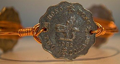 Hong kong 2 dollars lion wire wrapped bangle bracelet