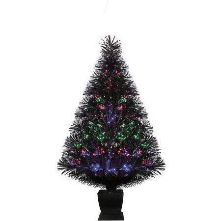 Holiday Time Pre-Lit 32 Fiber Optic Artificial Christmas Tree, Black, Color Change Lighting