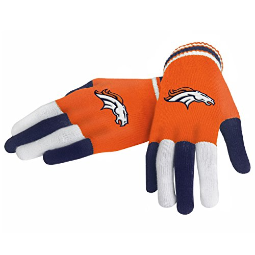 NFL Denver Broncos Multi Color Team Knit Gloves, Blue, One - Team Broncos