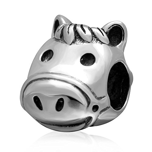 (Cute Horse Head Antique 925 Sterling Silver Animal Running Charm DIY Beads Party Gift for European Bracelet)