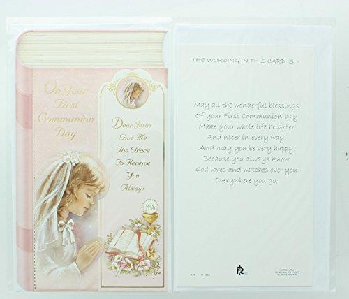 RA001 Girls First Holy Communion Greeting Card. Includes (First Holy Communion Card)