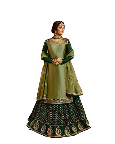Delisa Indian/Pakistani Ethnic wear Georgette Straight Salwar Kameez for Womens (Light Green, X-SMALL-36) - Green Salwar Kameez