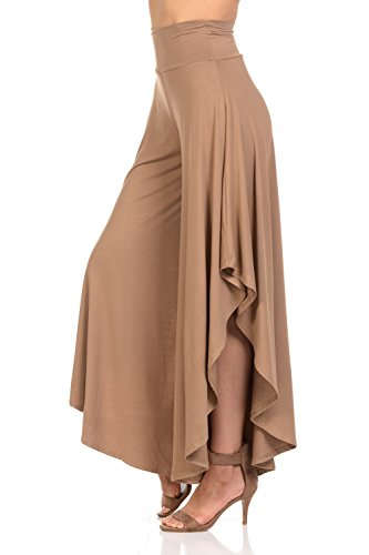 Palazzo Bowl - Ladybug Women's Solid Long Pants Flowy Wide Leg Palazzo Pants Fold Over Side Slit S-Plus Sizes (X Large, Khaki)