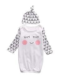 FAROOT Newborn Baby Sleepy Gown Swaddle Sleepwear Romper Sleeping Bags Cap Coming Home Gift