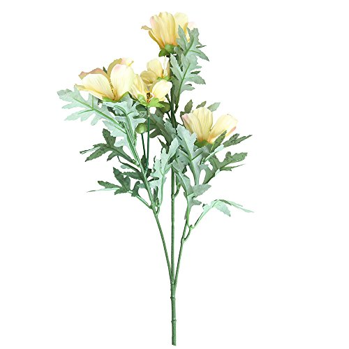 (XGao Artificial Flowers Small Daisy 5 Heads Fake Vintage Chrysanthemum Plants Real Touch Silk PU Flower for Vases Wedding Bride Bridesmaid Garden Home Office Decor Party Decoration (YE))