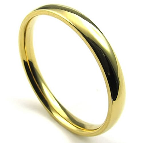 [Aomily Jewelry, Mens Wedding Finger Rings Stainless Steel Gold Round Circle Size 10] (King Triton Costume For Kids)