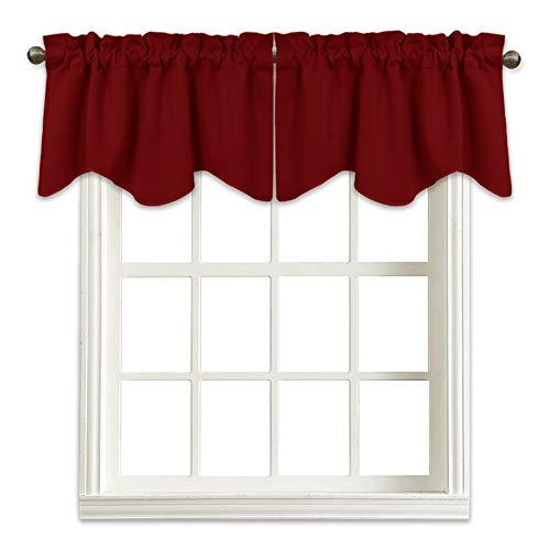 NICETOWN Burgundy Blackout Scalloped Valance - Elegant 52 inches by 18 inches Blackout Tier Valance Curtain for Living Room Decor on Christmas & Thanksgiving Day (Burgundy Red, 1 Pack) (Living Room Curtain For Valances)