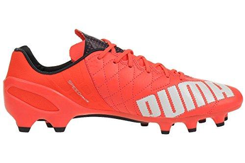 Puma Evospeed 1.4 Lth Fg - Botas De Fútbol para hombre neón rojo / blanco