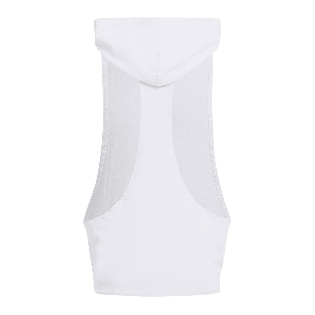 Cuekondy Mens Workout Fashion Letter Printed PUSH YOUR LIMITS Hooded Tank Tops Gym Sports Muscle Sleeveless Shirt Vest