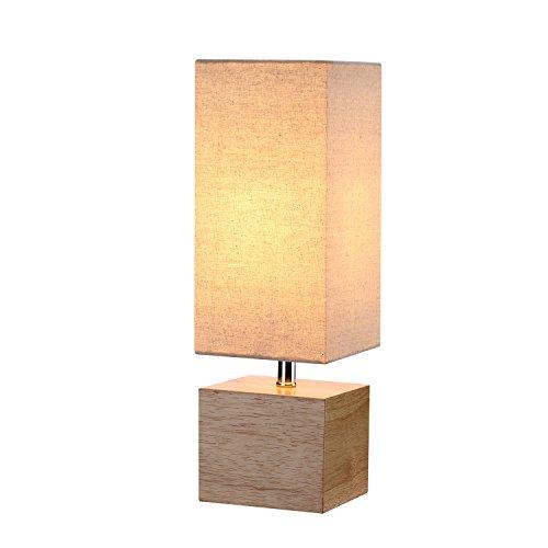 Wood Table &Desk Lamp, Nature Wooden Color Base and Beige Linen Shade, Bedside Lamp for Living Room, Bedroom, Study, Guestroom,Includes 4.5W LED Bulb
