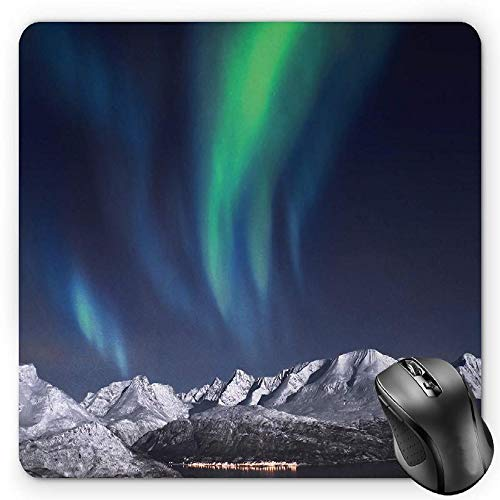 BGLKCS Sky Mouse Pad, Aurora Borealis Aurora Over Fjords Mountain at Night Norway Solar Image Artwork, Standard Size Rectangle Non-Slip Rubber Mousepad, Green Dark Blue