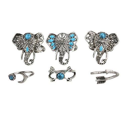 Tinksky Bohemian Turquoise Elephant Knuckle