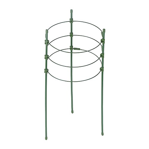 Plant Support Ring Flower Iron Support Garden Trellis Climbing Plant Grow Cage with 3 Adjustable Rings Dia 5/6/7 Inch Large Quantity Wholesale