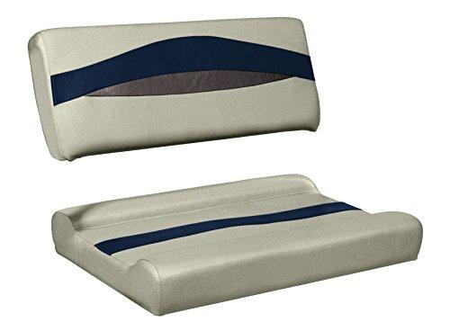 Wise Premier Series Pontoon Flip-Flop Seat, Cushions Only, Mocha Java/Mocha Java Punch/Round Midnight Navy/Rock Salt ()