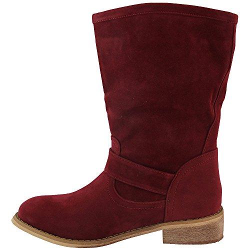 Unbekannt - botas estilo motero Mujer Rojo - rojo