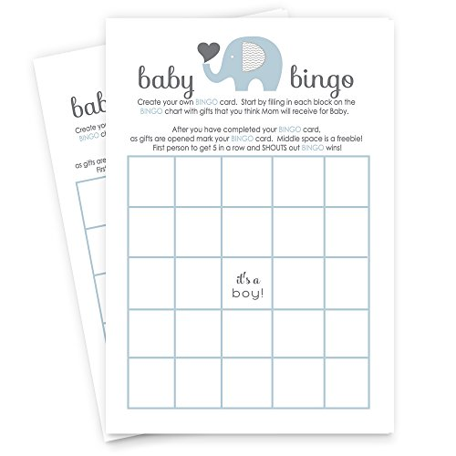 Blue Elephant Baby Shower Bingo Game Set of