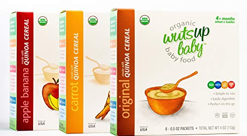 Organic Original Quinoa Infant&Baby Cereal Travel Packs 3pk Bundle: Original, Carrot&AppBana w/Naturally Occurring Omega 3,6,9 Protein,Iron,Magnesium,B2. Easiest First Foods to Digest. (8pkx0.5oz)/pk