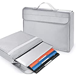 "Vemingo Fireproof Document Bag Anti-Irritation Silicone Coated Fire Water Resistant Money Bag Fireproof Safe Storage 15"" x 12"" x 2"" for Money, Documents, Jewelry, Passport and Laptop (Silvergrey)"