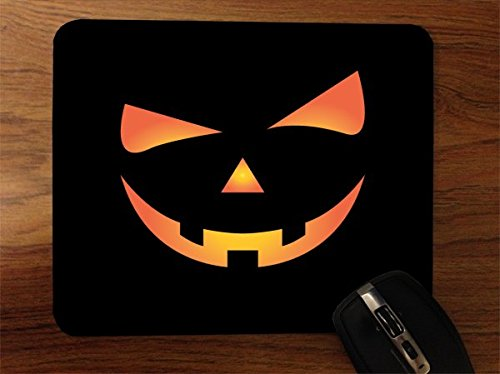 Scary Spooky Halloween Pumpkin Face Desktop Office Silicone Mouse Pad by Moonlight Printing -