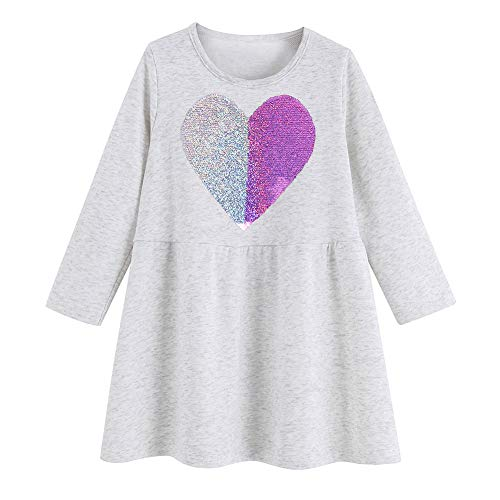 Unicorn Dress Summer Animal Cotton Jersey Baby Girls Casual Dresses 2-7Years (3T, Reversible Sequins 2)