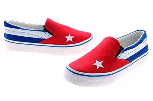 Alma Cubana - Zapatillas para hombre, modelo Van Classic, con estampado de la bandera cubana, para gimnasia, deporte y ocio, BIANCO/BLU/ROSSO