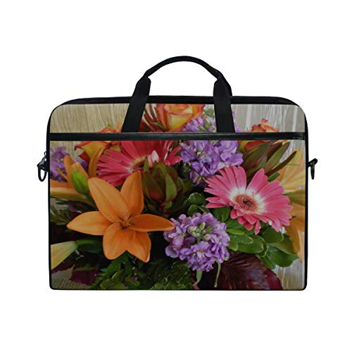 Rh Studio Laptop Bag with Shoulder Strap Handle Lilies Roses Gerberas Flowers Bouquet Messenger Bag Case Sleeve for 14 to 15.6 Inch with Adjustable Notebook Shoulder Strap