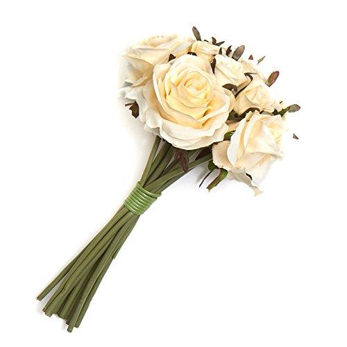Factory Direct Craft Cream Artificial Silk Nosegay Rose Bunch Bouquet