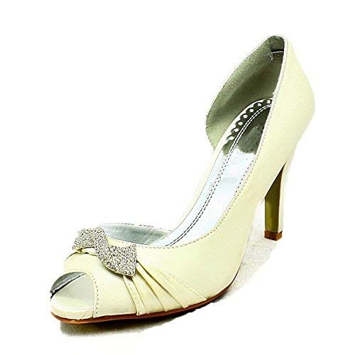 Swirled Ladies Brooch Diamante Open Side Ivory Shoes Satin Wedding xtqwt4O