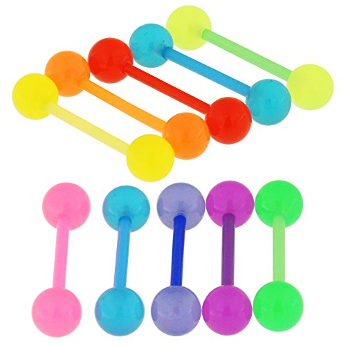 10 Pieces Pack of UV Soild Balloon Ball with 16MM Length - 14 Gauge Bioplast Flexible Straight Barbell Tongue Ring