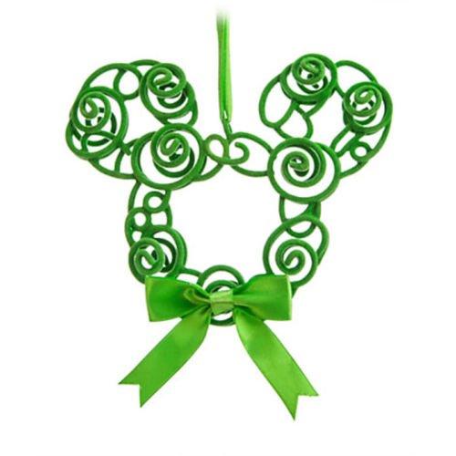 Disney Parks Mickey Icon Green Swirl Wreath Holiday Ornament ()