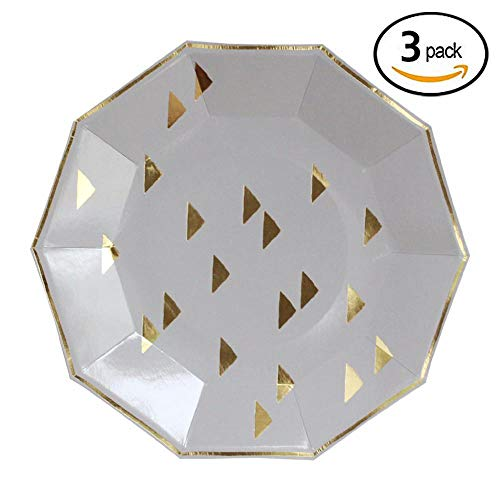 Gold Foil Triangles Boho Large Paper Plates - Birthday, Wedding, Showers Disposable Party Plates - Harlow & Grey Wander (24 Count)