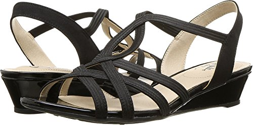 LifeStride Women's, Yaya Wedge Sandals Black 5 - Strappy Slingback Wedge