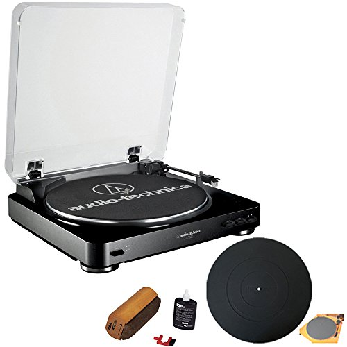 Audio-Technica AT-LP60 Fully Automatic Stereo Turntable System With RCA Turntable Cleaning System + Silicone Rubber Universal Turntable Platter Mat