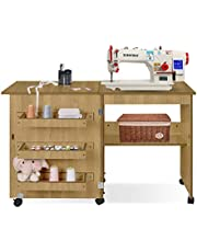 Folding Sewing Craft Cabinet Table Multifunctional Sewing Machine Cart Table with Storage Shelves and Bins Portable Rolling Sewing Desk Computer Desk with Lockable Caster in White Finish