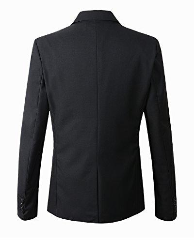 Benibos Men's Slim Fit Suit Blazer Jacket Tux Vest Pants 3 Pieces Suit Set (S, Black)