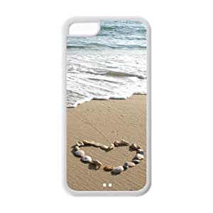 5C Phone Cases, Seashell Heart Wave Hard Cover Case for iPhone 5C Designed by HnW Accessories