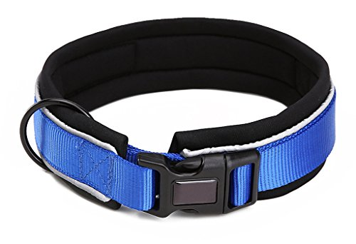 Neoprene Nylon Reflective Dog Collar for Walking Running Hiking and Training Dark Blue M