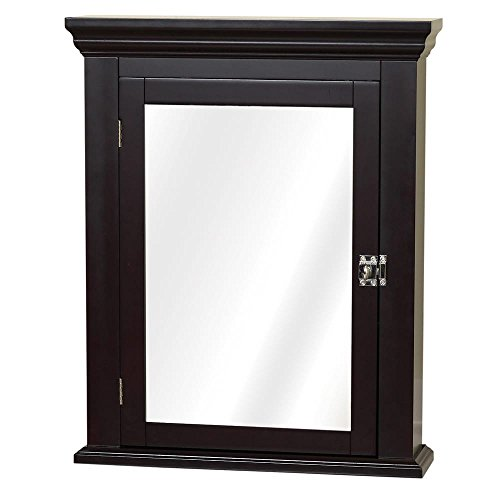 Supernova Warehouse Llc Espresso Wood Wooden Mirrored Bathroom Wall Closet Medicine Cabinet In Brown With Adjustable Shelves  Molded Detailing  Stylish And Practical